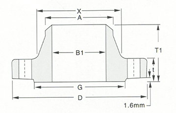 Welding neck flange-150LB-300LB-Sketch Map-Walmi