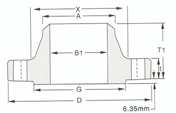 Welding neck flange-600LB-900LB-Sketch Map-Walmi